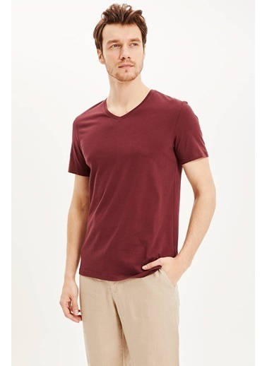 DeFacto Slim Fit V Yaka Basic T-shirt Bordo